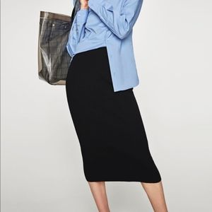 Zara Collection Knit Midi Skirt M Black NWT